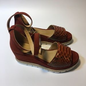 Stacked leather ankle strap sandal, 8